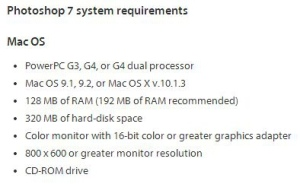 Photoshop 7 System Requirements - Mac OS