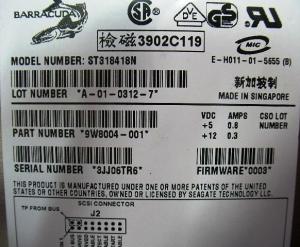 ST318418N 19GB Quiet HDD - Label
