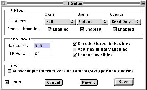 NetPresenz FTP Setup