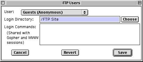 NetPresenz Setup FTP Users