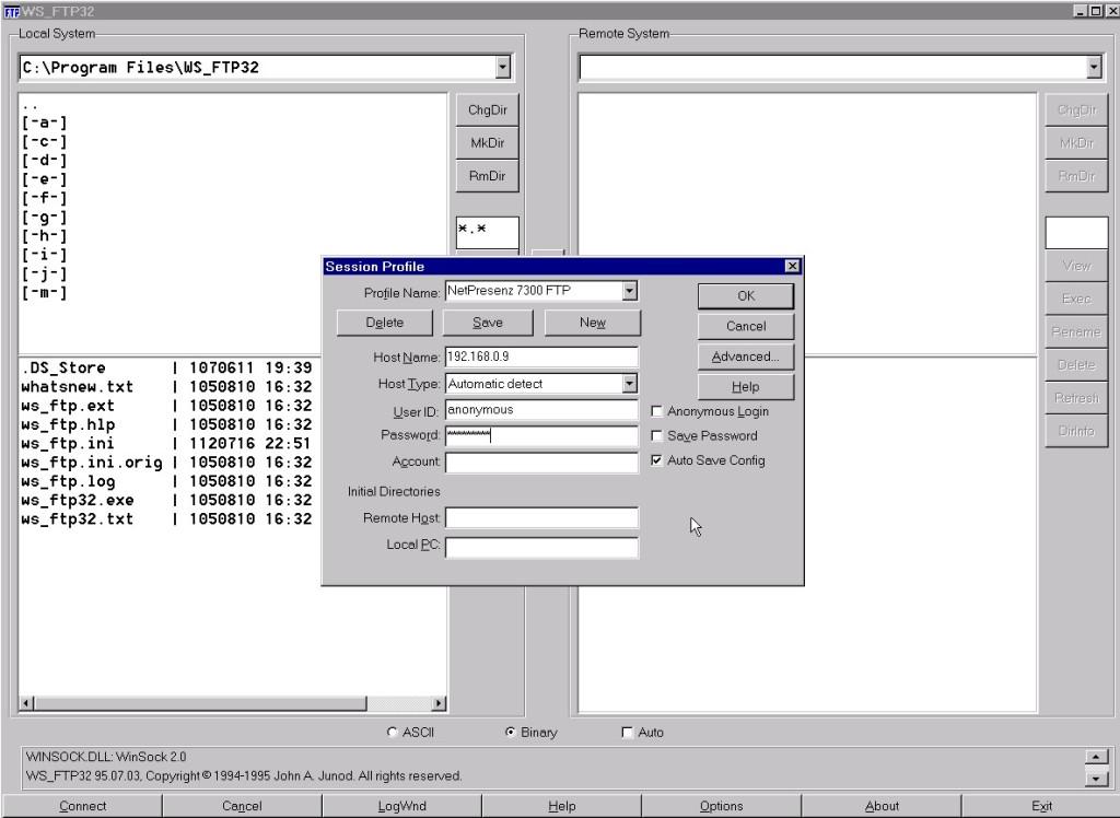 Setup NetPresenz in WS_FTP32