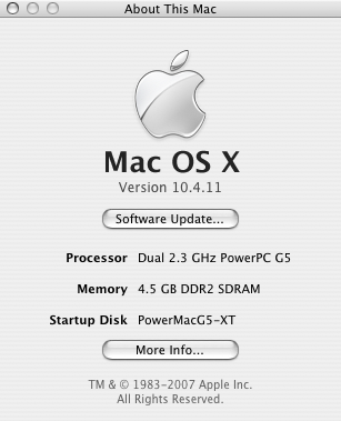 About This Mac, G5 2.3 GHz w 4.5 GB RAM