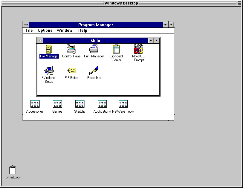 SoftWindows 3.1 Desktop