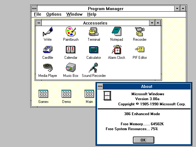 Windows 3.0 Desktop