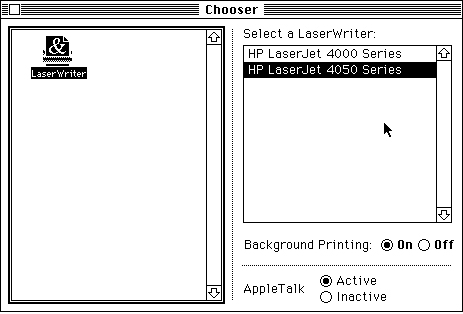 Chooser, No AppleTalk Selection