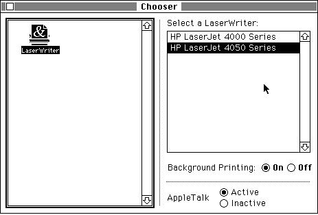 Chooser, No AppleTalk Selection